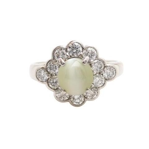 Cat's Eye Chrysoberyl with Diamond Halo ring 'Kismet.'