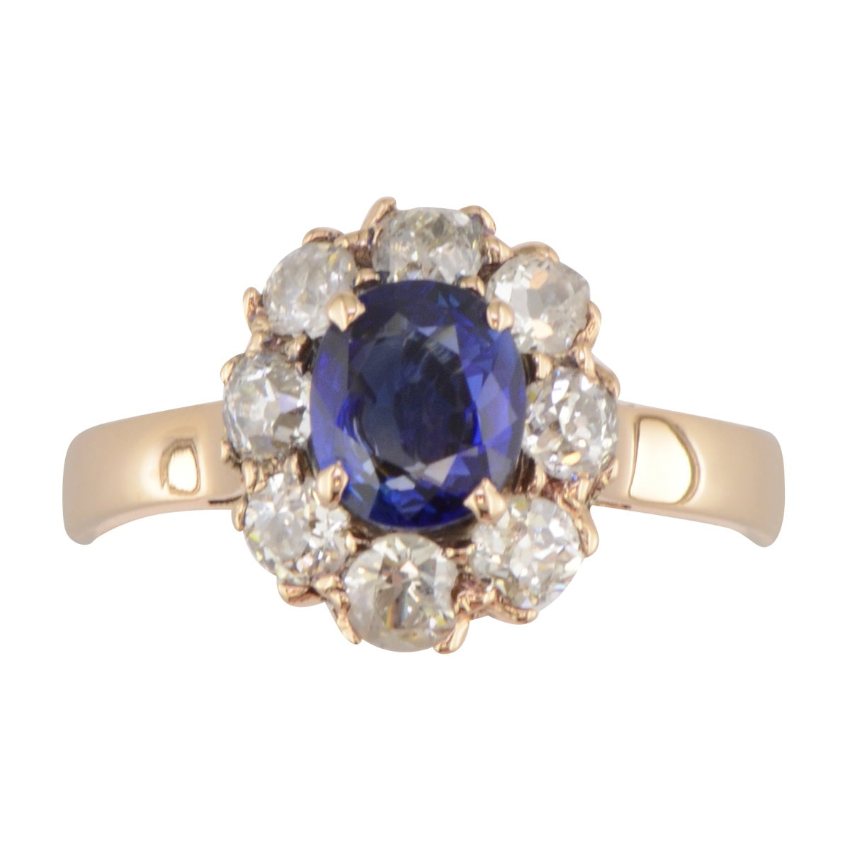 Antique Sapphire and Diamond halo ring 'Dianna'