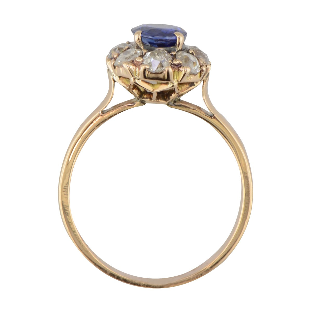 Victorian sapphire and diamond halo ring 'Dianna'
