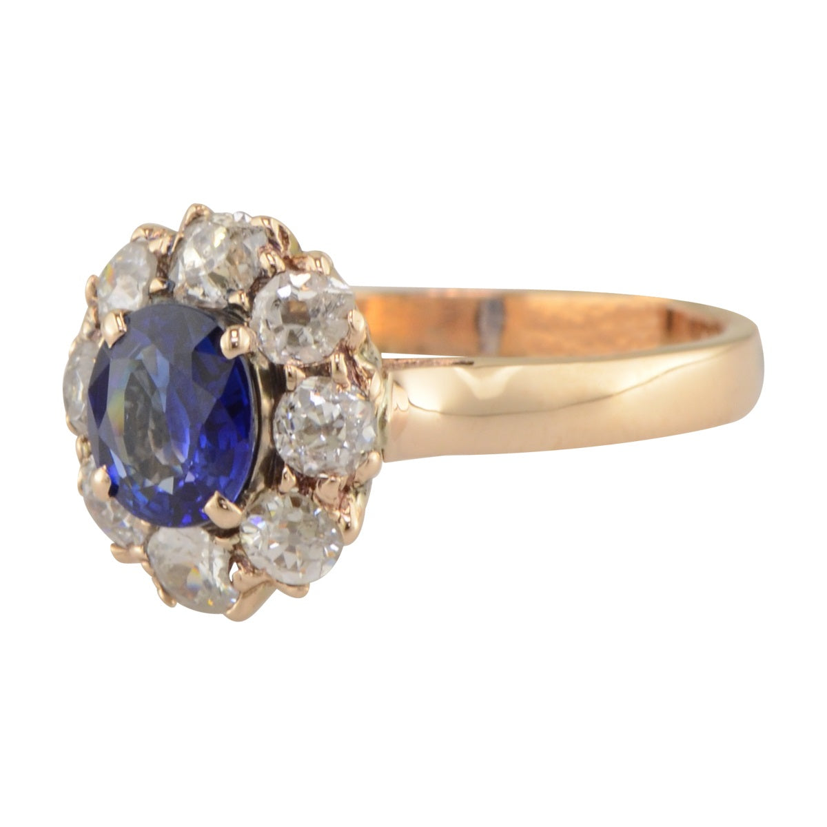 'Dianna' sapphire and diamond halo engagement ring