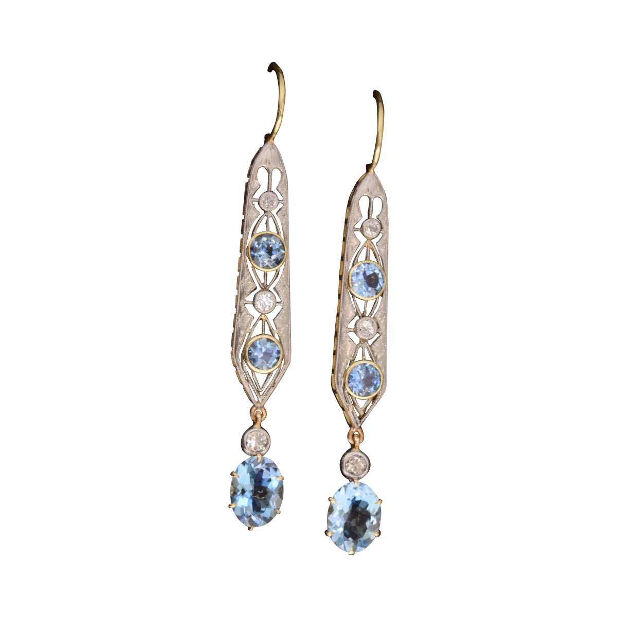 Edwardian Aquamarine Drop Earrings