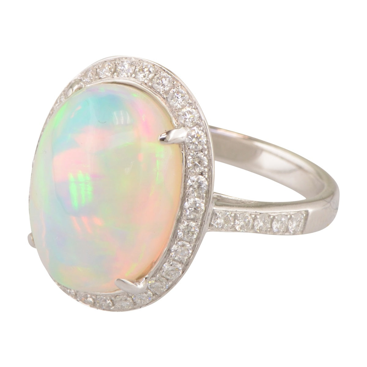 Natural Opal Ring with Diamond Halo