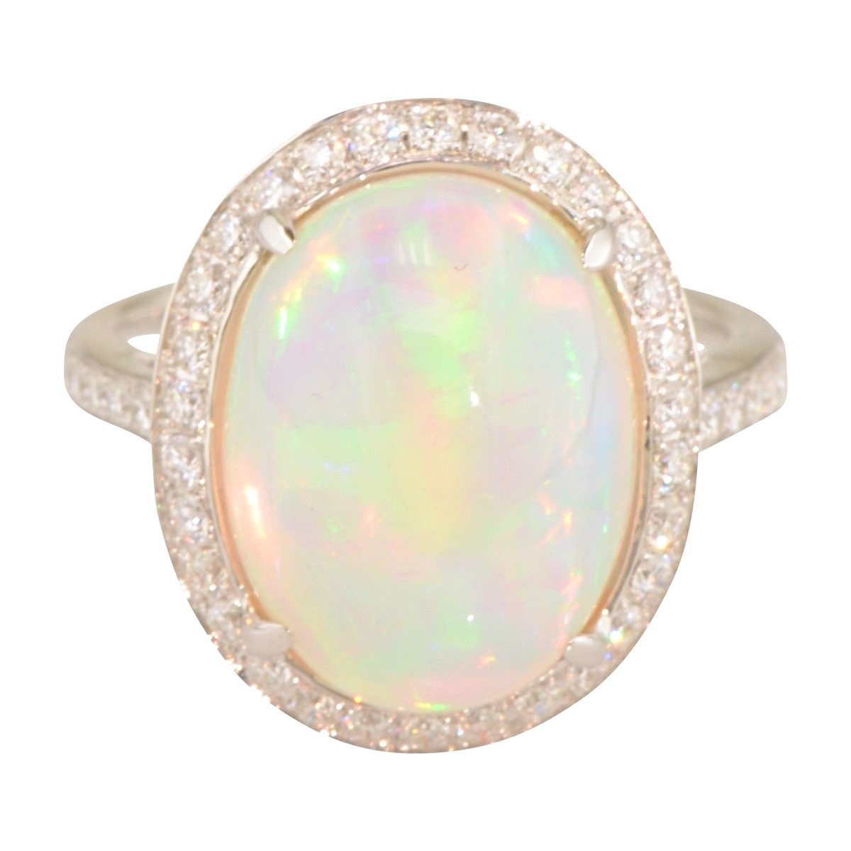 Athena Ethiopian Opal Ring with Diamond Halo