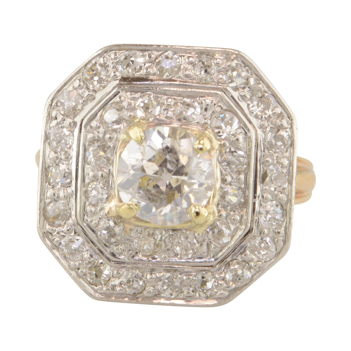 'Holly' Antique diamond geometric halo ring.