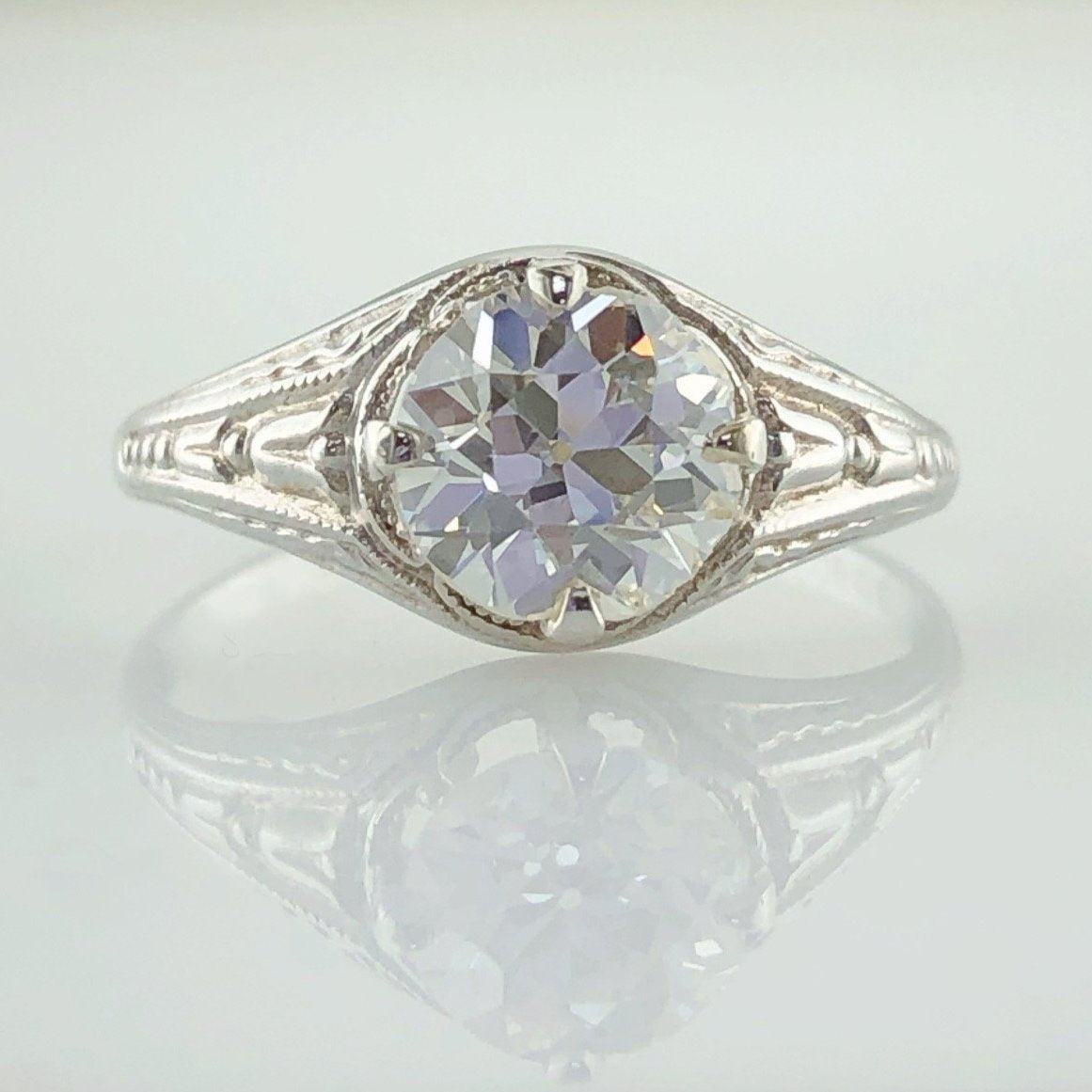 1.30ct old European cut antique diamond ring in 10K white gold.
