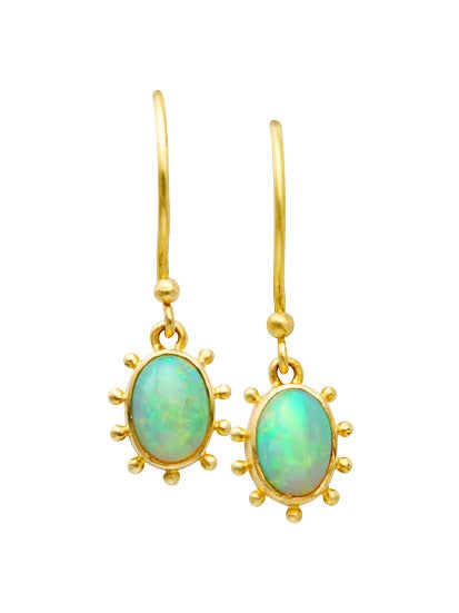 Etruscan Opal Dangle Earrings