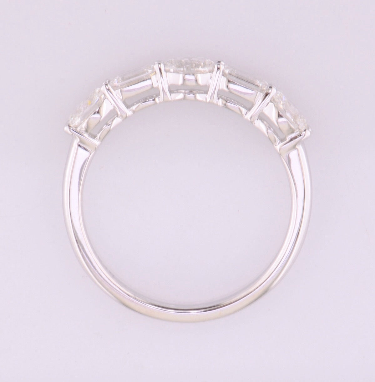 Oval & Emerald Cut Horizontal Diamond Band 1.00ctw