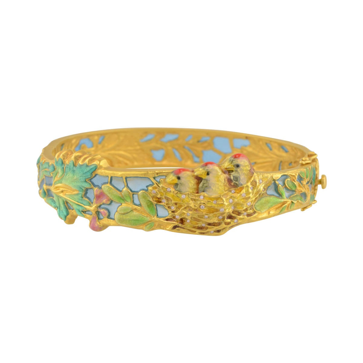 Masriera enamel bracelet in 18k yellow gold.