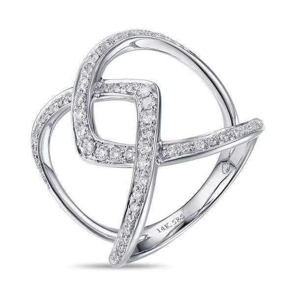 Infinity Crossover Ring in White Gold and Diamonds by Luvente