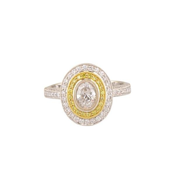 'Viola' oval diamond halo engagement ring with yellow diamond accents