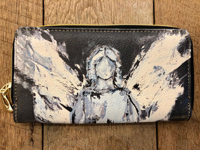 *Wallet - Black Leather Angel Clutch