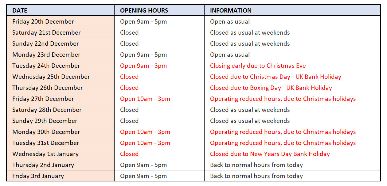 opening hours for bluestreak crystals Swarovski Crystals wholesaler over christmas and new year