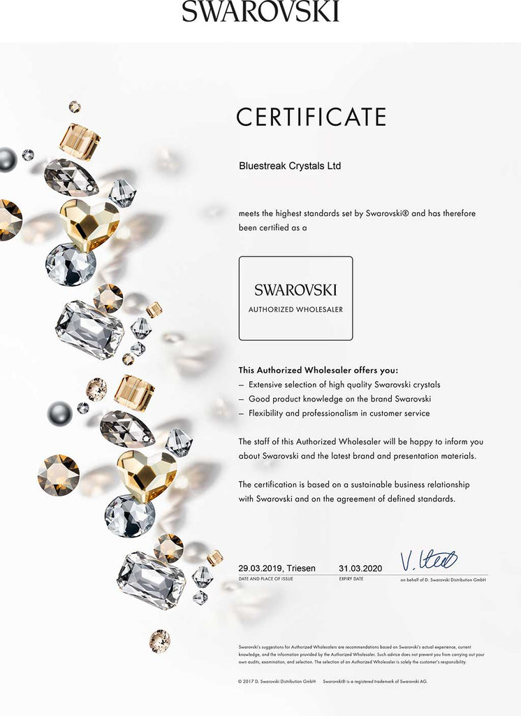 Authorised Swarovski Wholesaler Certificate for Bluestreak Crystals Ltd