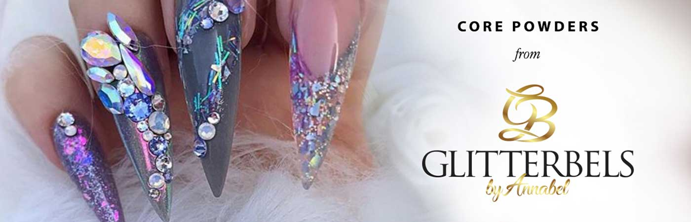 Glitterbels core acrylic powders for nails and nail art on sale at Bluestreak Crystals