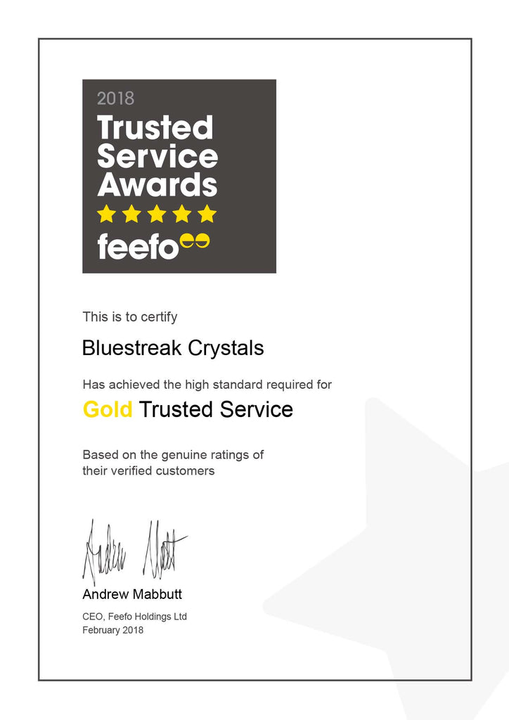 bluestreak crystals swarovski crystals and beads gold trusted service award for high standards