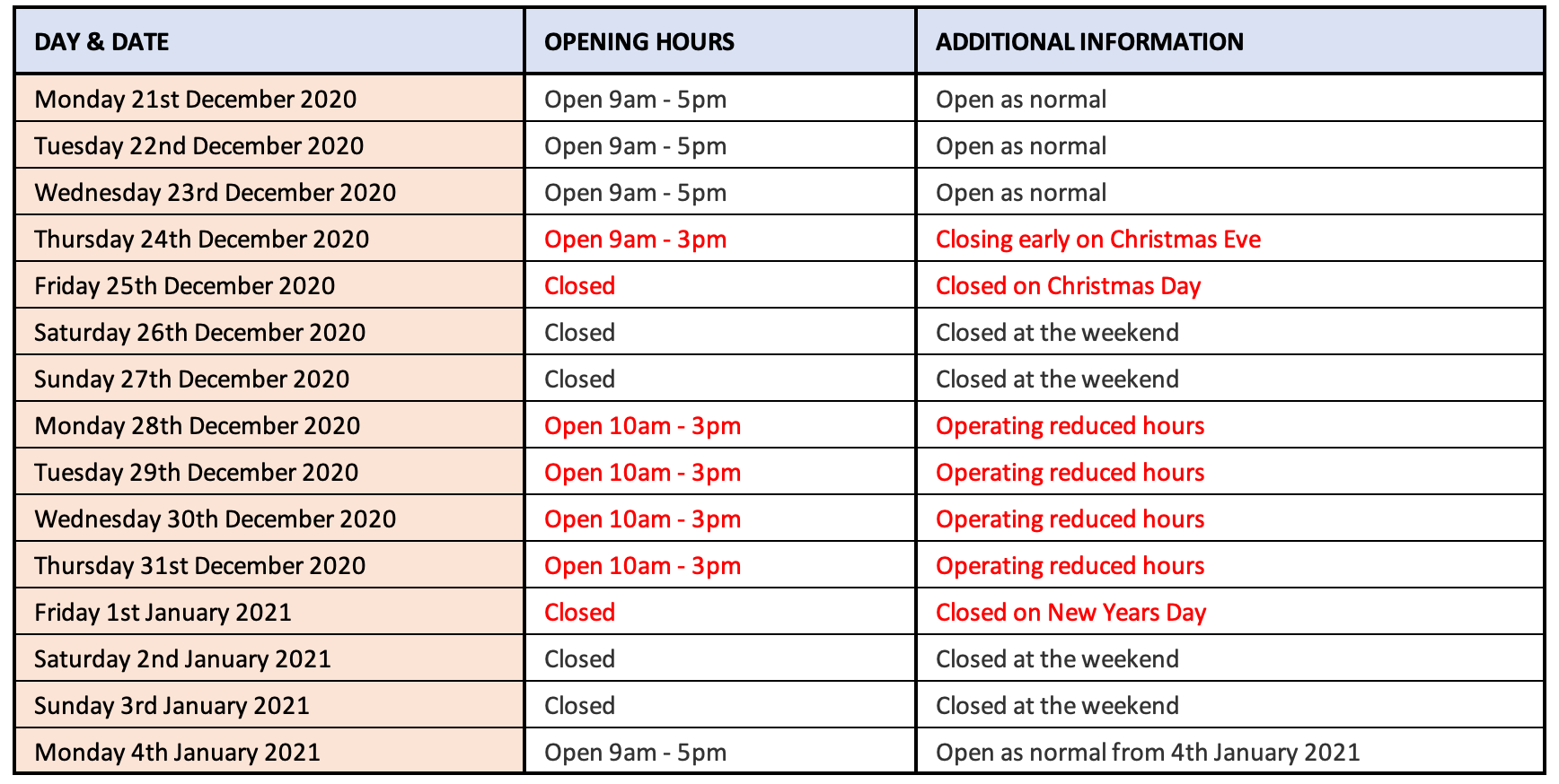 Christmas opening hours at bluestreak crystals, the worlds leading supplier of Swarovski Crystals and Preciosa Crystals