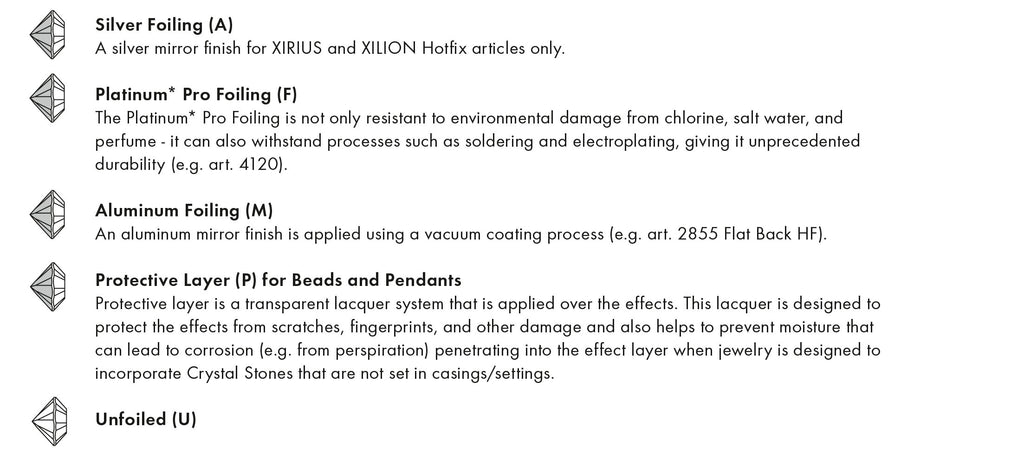 Swarovski Crystal Foiling unfoiled description explanation