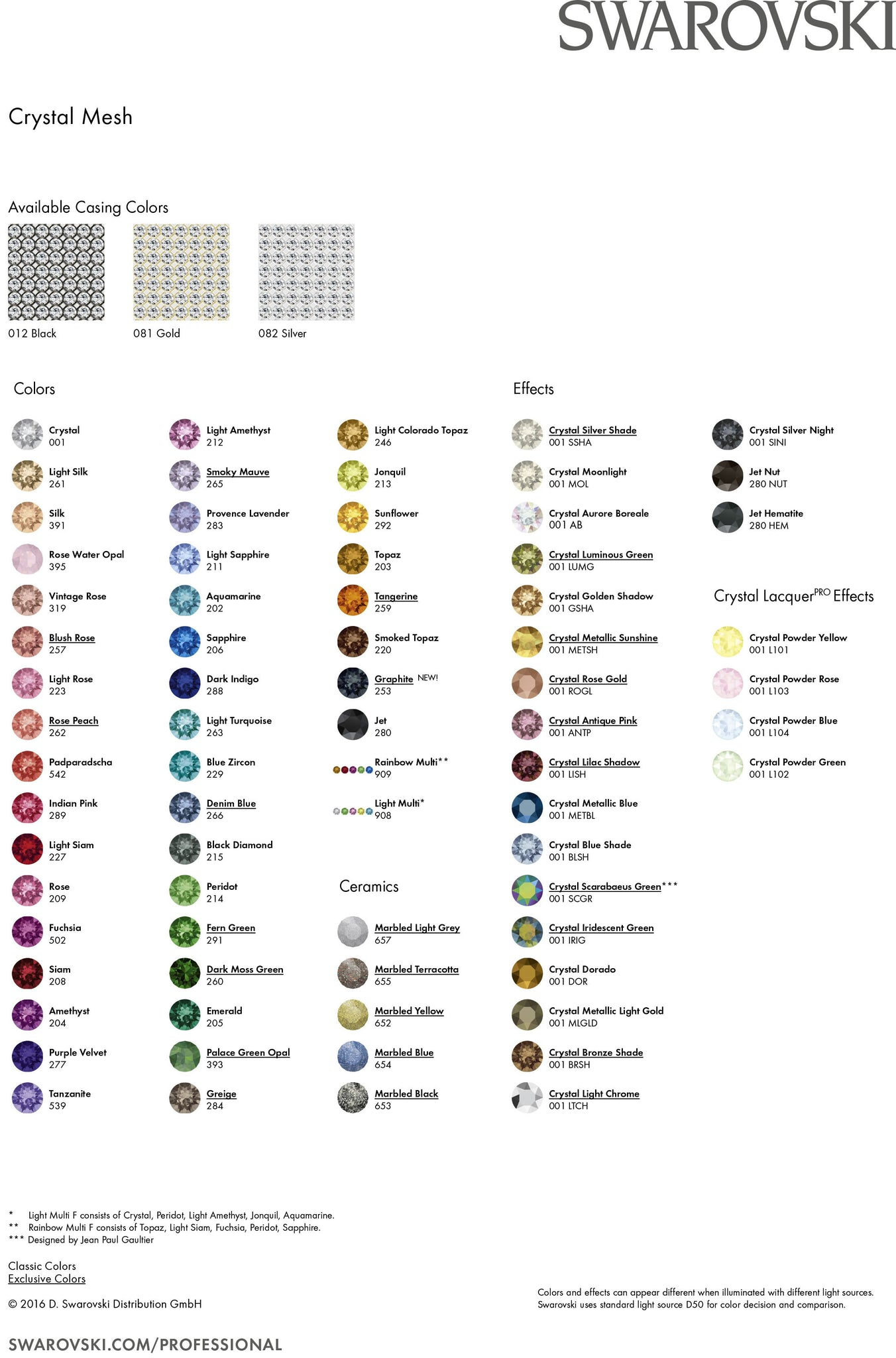 Swarovski Crystal Mesh Colour Chart 2016