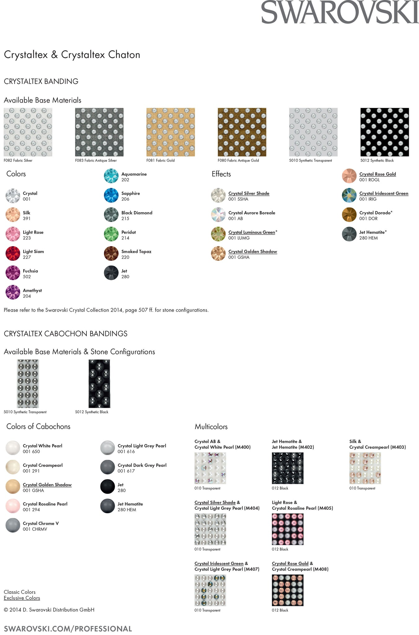 Swarovski Crystaltex Colour Chart 2016