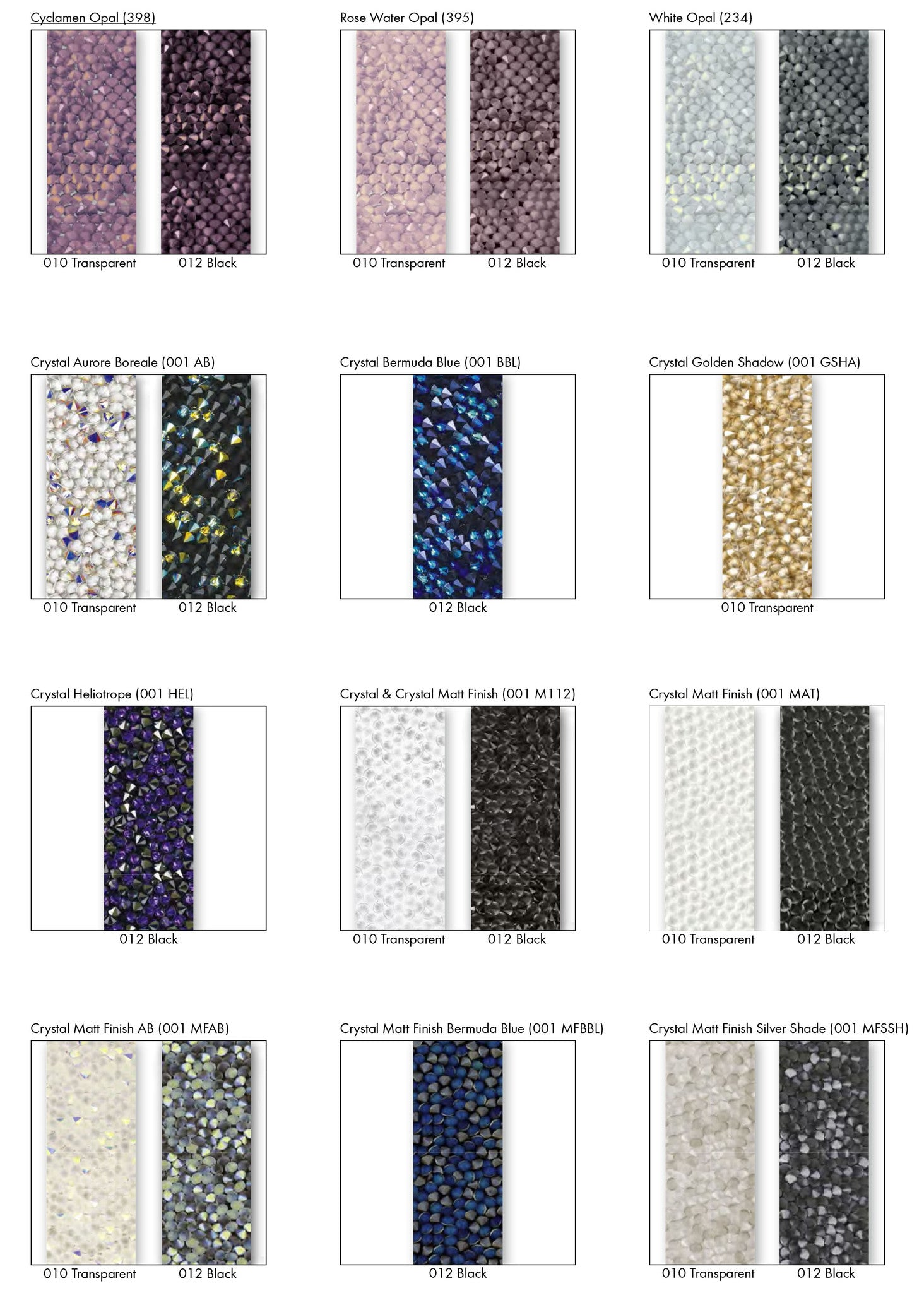 Swarovski synthetics crystal rocks transfers motifs design and colour options