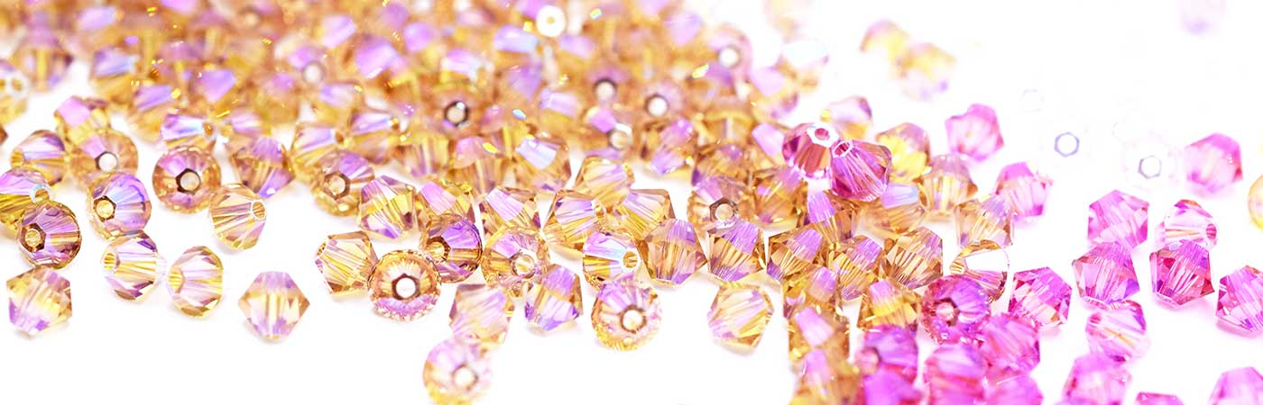 swarovski beads and crystals in beautiful vibrant shimmer colours and effects
