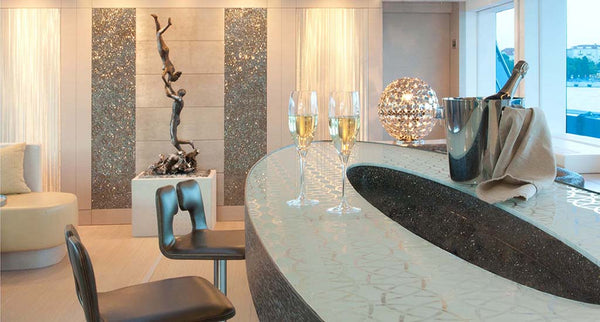 swarovski crystal rocks surfaces and interior design for yacht, theatre, hotel, home and business from bluestreak crystals
