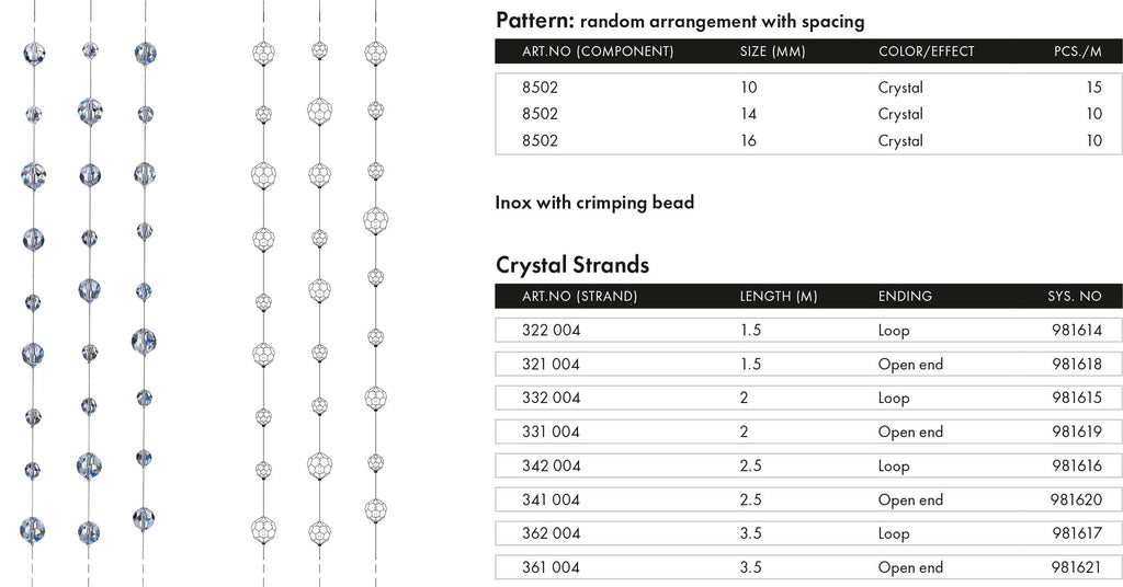 Swarovski Crystal Lighting Strands Stainless steel irregular pattern bluestreak crystals