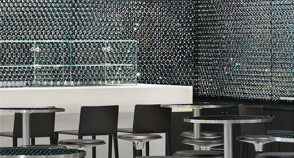 swarovski crystal hexagon surfaces and interior design for yacht, theatre, hotel, home and business from bluestreak crystals