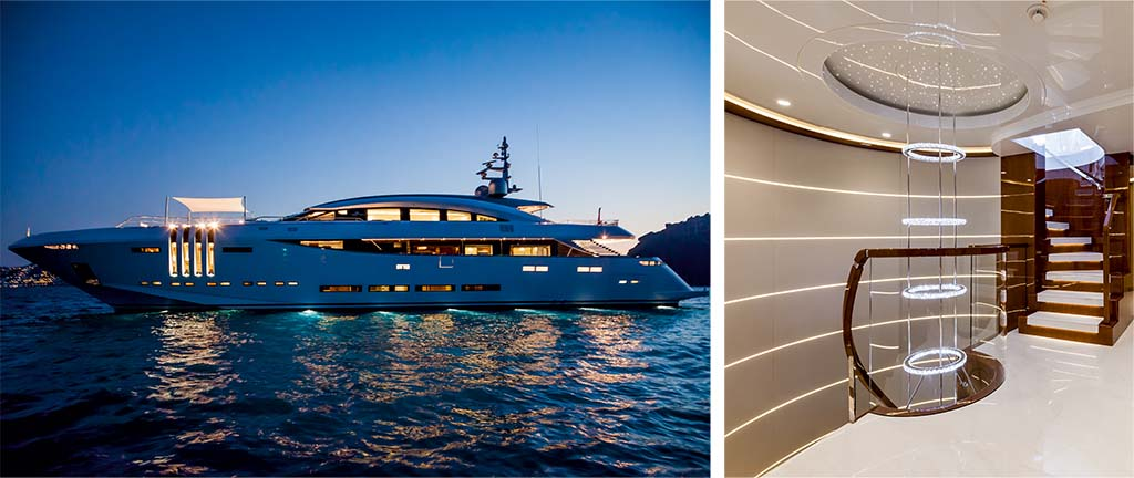 swarovski crystals created and fitted to the interior design of a luxury yacht