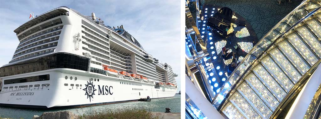 bluestreak crystals swarovski crystal stairs, panels and surfaces installed on cruise ship MSC BELLISSIMA
