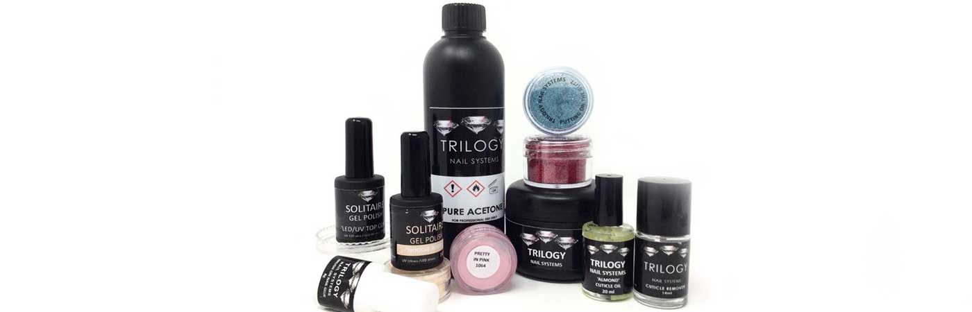 Trilogy nail system acrylic powders and core products for nails and nail art