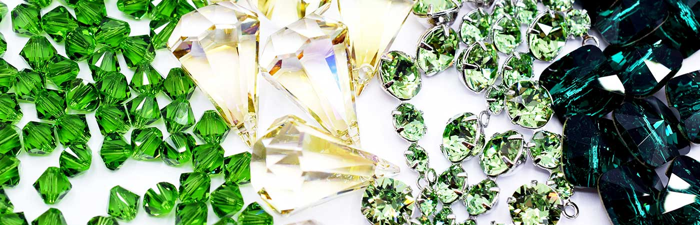 Swarovski beads and crystals in beautiful shades of green in our green colour collection at bluestreak crystals