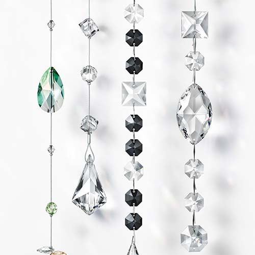swarovski crystal strands for interior design and lighting for hotel, office, theatre, business and home