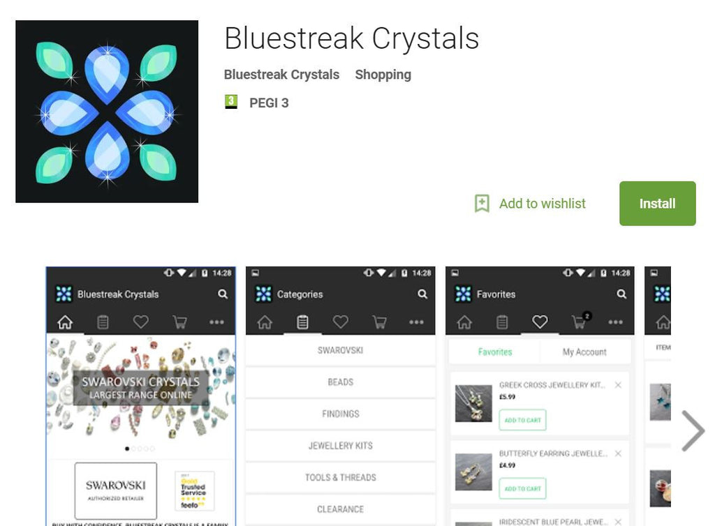 bluestreak crystals swarovski crystals and elements mobile app