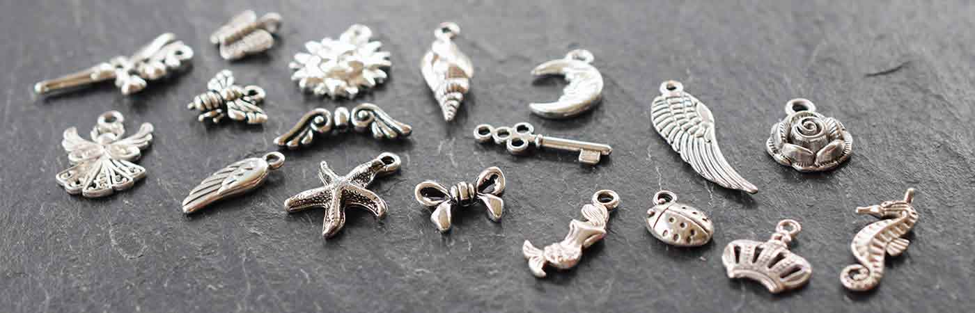 silver plated charms metal