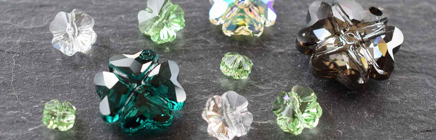 Swarovski Crystal Clover Shaped Beads Buttons Chatons Pendants Stones