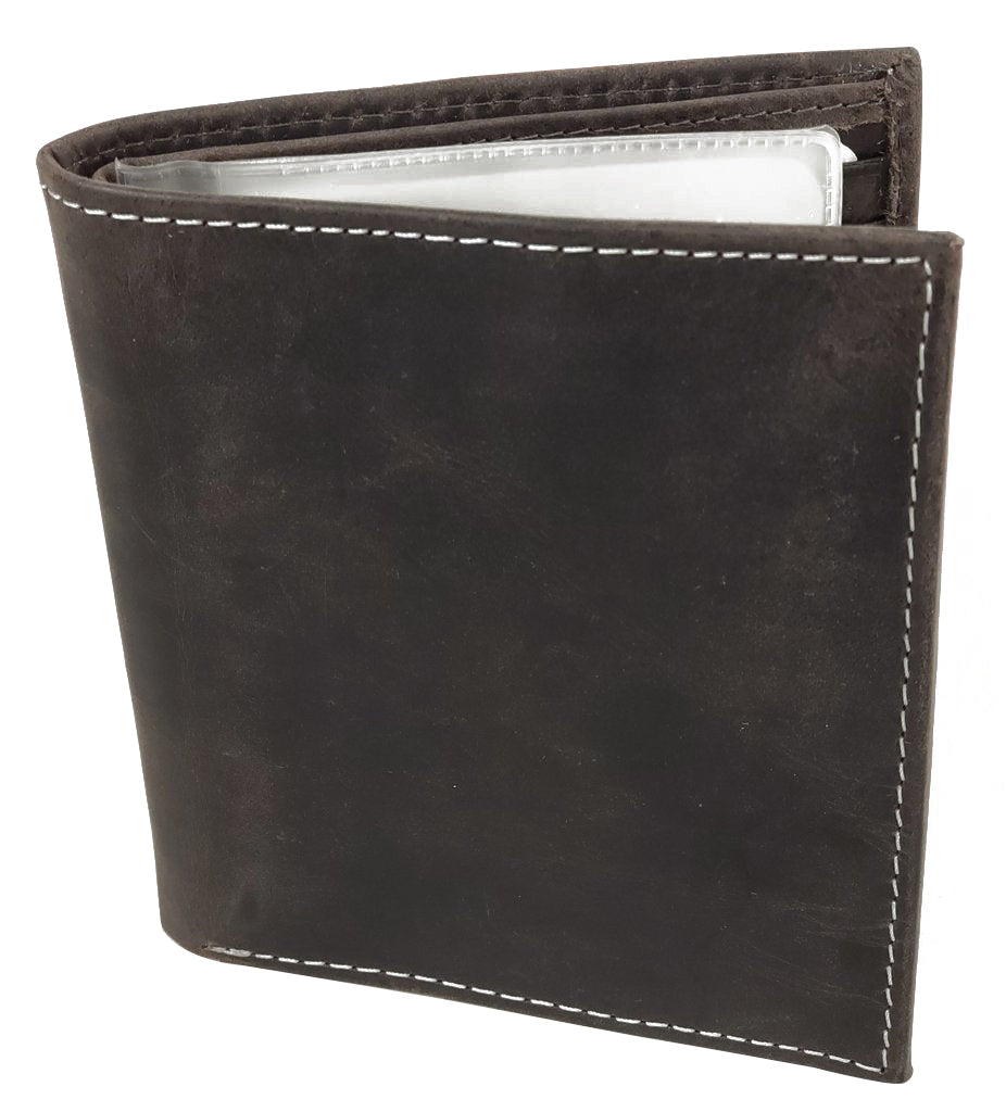 RFID Distressed Leather Bifold Wallet