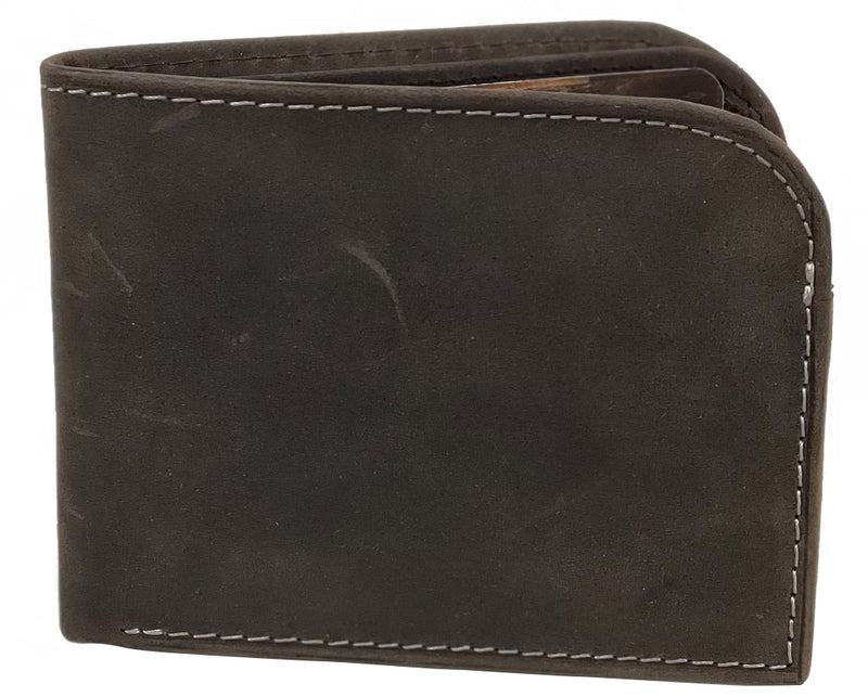 RFID Distressed Leather Bifold Front Pocket Wallet