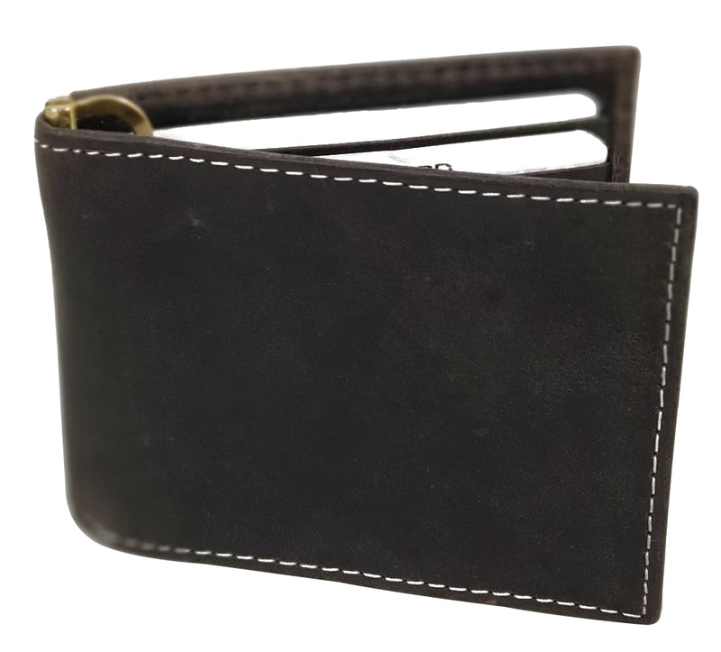 RFID Distressed Leather Bifold Wallet with Money Clip