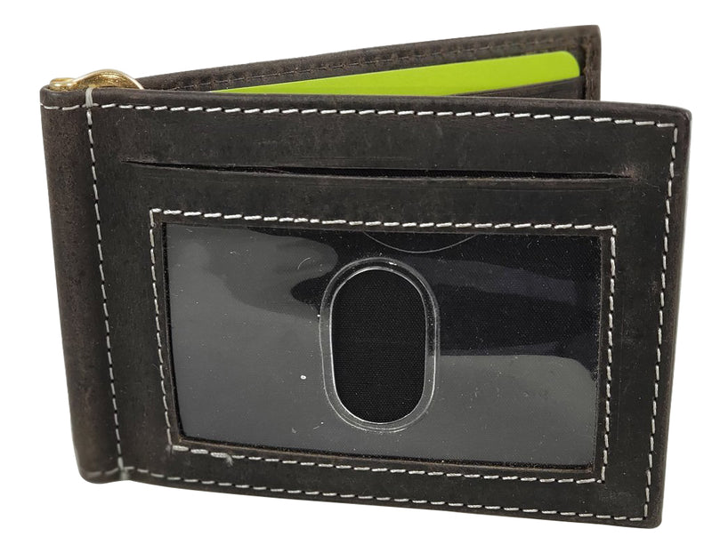 RFID Distressed Leather Wallet with Money Clip