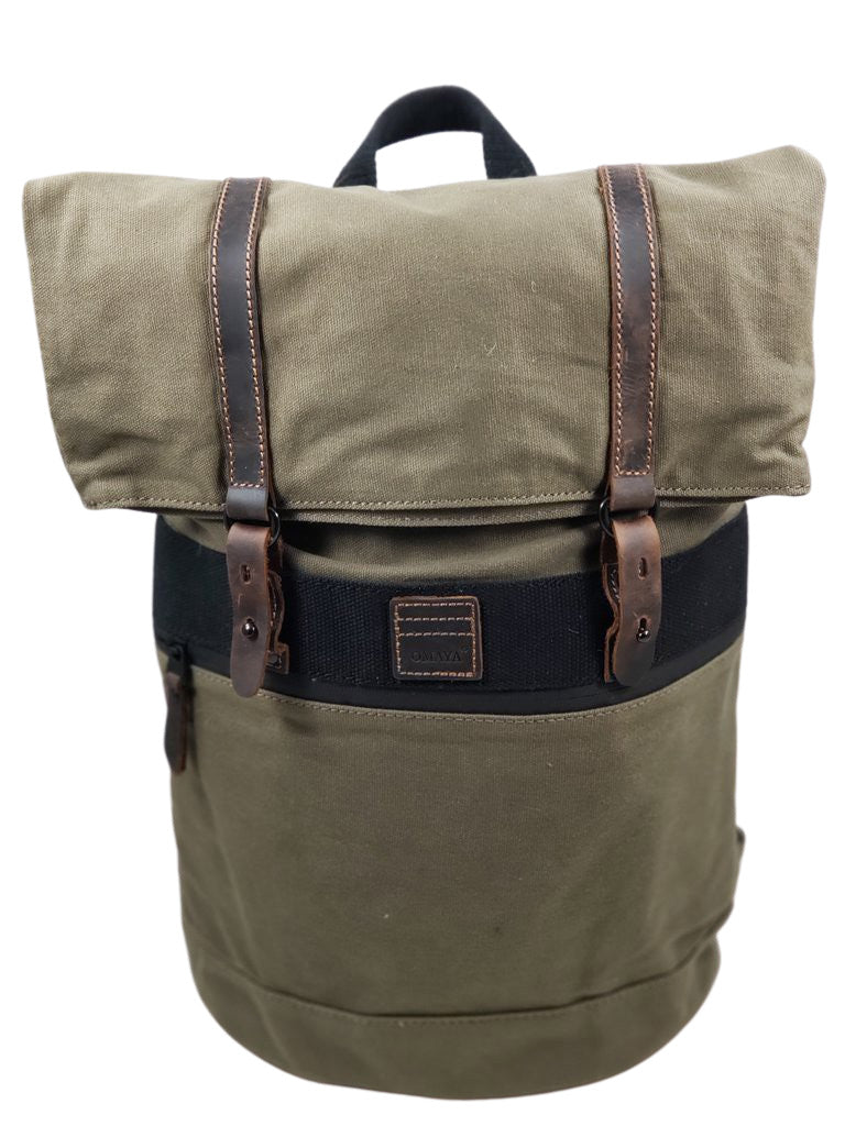 Top Fold Waxed Canvas Travel Backpack