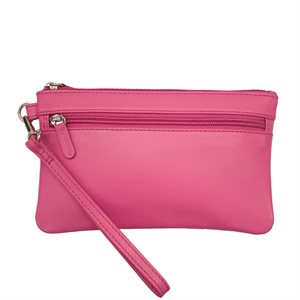 Leather Double-Zip Wristlet