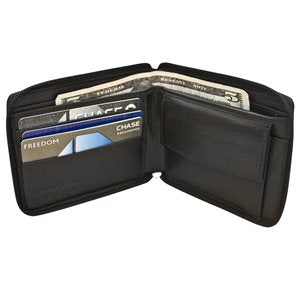 RFID Leather Zipper Wallet