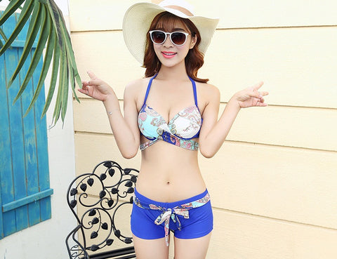 54b5e46667c Womens Stylish Bikini And Shorts With Swimsuit Coverup