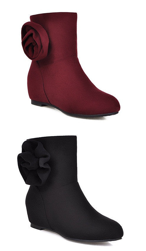 fce6e71b678 Womens Lovely Flower Wedge Ankle Boots – ShoeCoo