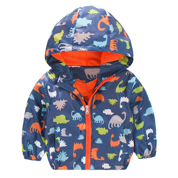 Windbreaker Jacket with Dinosaurs