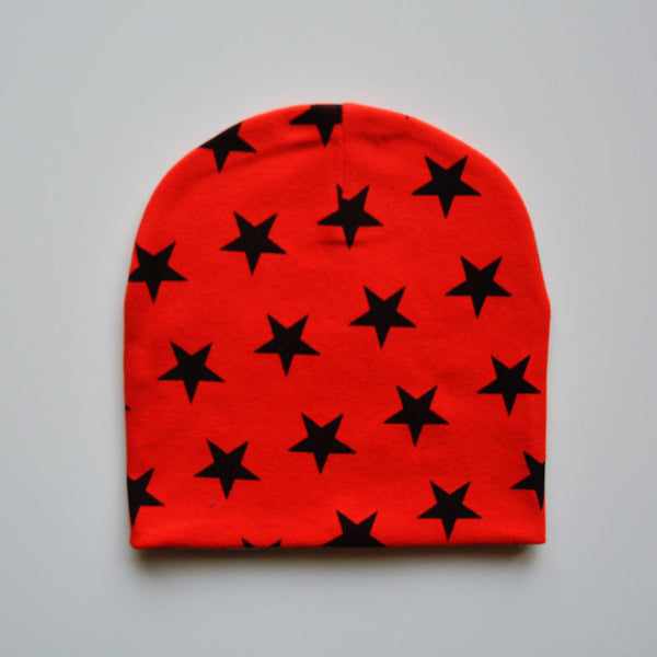 Beanie- RED with Black Stars
