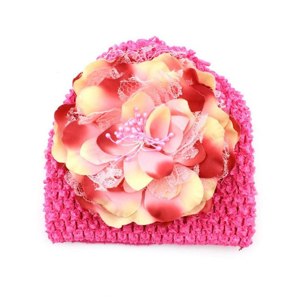 Pink Knitted beanie with pink flower