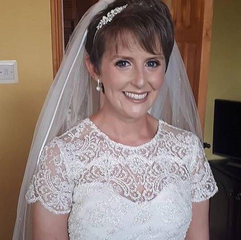 real bride wearing Rochelle earrings