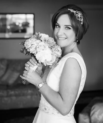 Real Bride Riona wears Grace HEadband